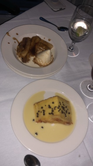 (Top) Bananas foster, (Bottom) White chocolate bread pudding